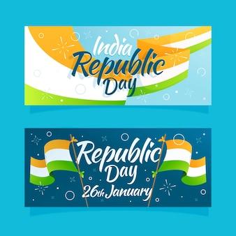 Hand getekend republiek dag banner