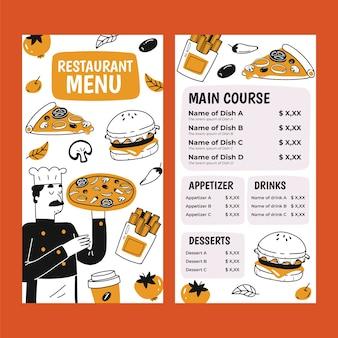 Hand getekend restaurant menusjabloon