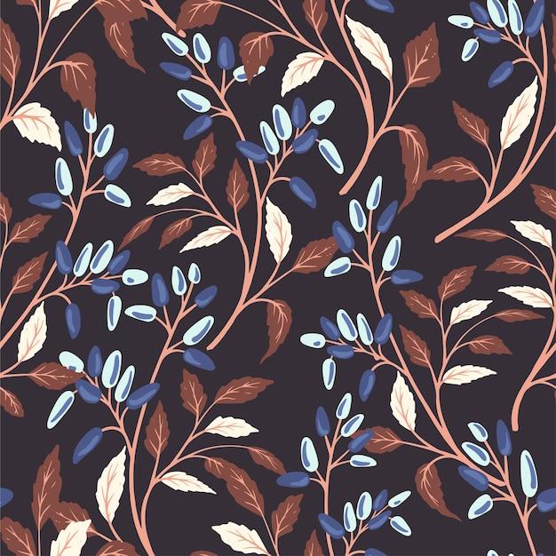 Hand getekend retro abstract naadloos patroon met bessen op donkere achtergrond