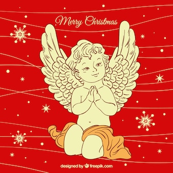 Hand getekend rode achtergrond met een kerst engel