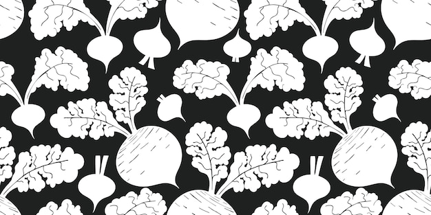 Hand getekend rode biet naadloze patroon. biologische cartoon verse groente illustratie.