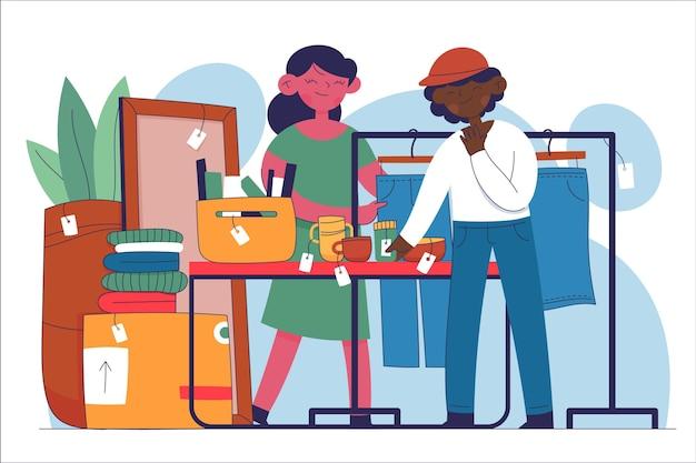 Hand getekend rommelmarkt concept illustratie