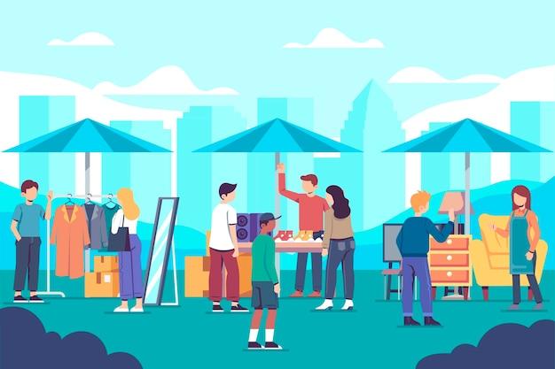 Hand getekend rommelmarkt concept