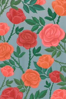 Hand getekend roos patroon achtergrond