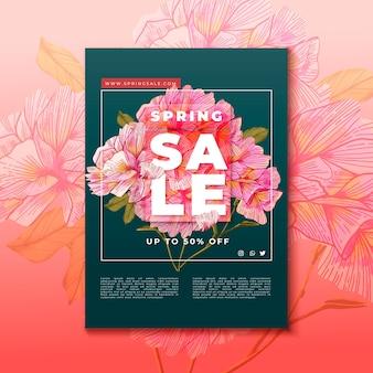 Hand getekend roze bloeiende bloemen flyer