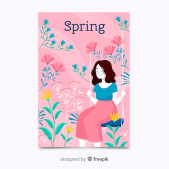 Hand getekend roze lente poster