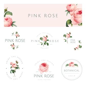 Hand getekend roze roos embleem vector set