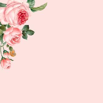Hand getekend roze rozen frame op pastel roze achtergrond