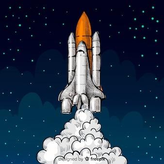 Hand getekend ruimteschip achtergrond