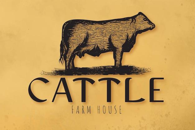 Hand getekend rundvlees, vee logo ontwerpen inspiratie