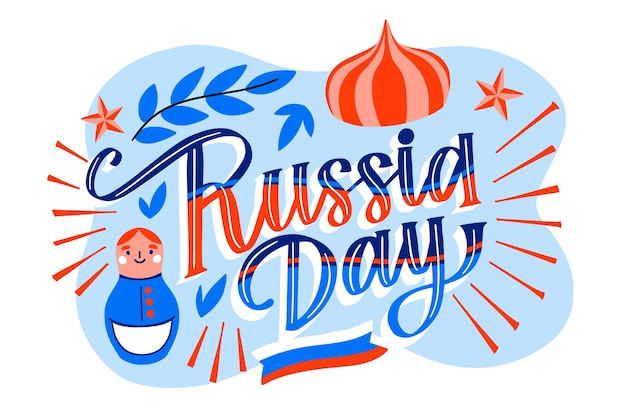 Hand getekend rusland dag belettering