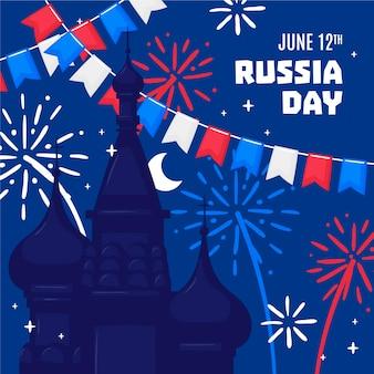 Hand getekend rusland dag illustratie