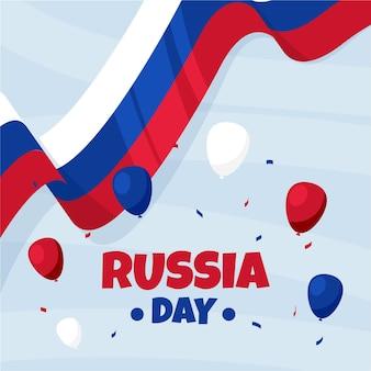 Hand getekend rusland dag met vlag en ballonnen