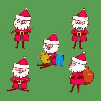 Hand getekend santa claus tekenset