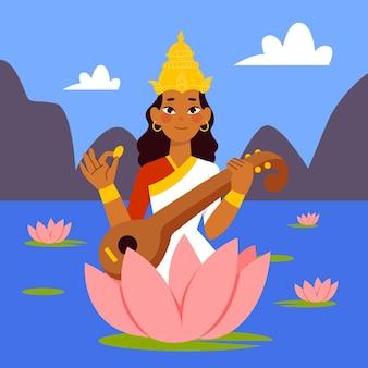 Hand getekend saraswati illustratie met veena