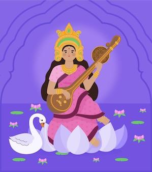 Hand getekend saraswati illustratie