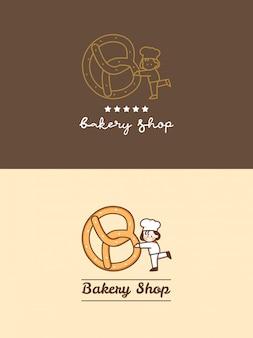 Hand getekend schattig bakkerij winkel krakeling met kleine chef-kok en vijf sterren logo sjabloon set