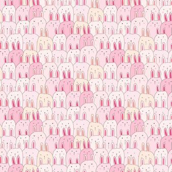 Hand getekend schattig bunny achtergrond