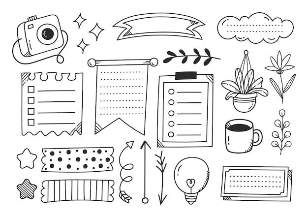 Hand getekend schattig dagboek doodle element