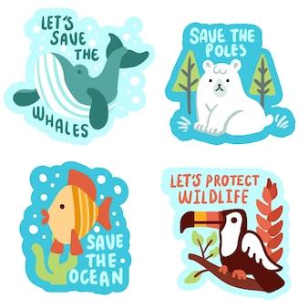 Hand getekend schattig ecologie badges