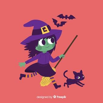 Hand getekend schattig halloween heks