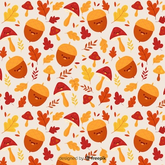 Hand getekend schattig herfst patroon