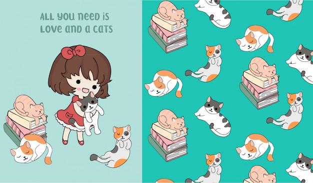 Hand getekend schattig kat met klein meisje patroon vector set