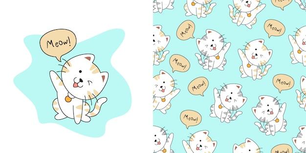 Hand getekend schattig kat naadloze patroon