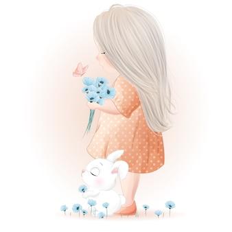 Hand getekend schattig klein meisje met aquarel illustratie