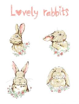 Hand getekend schattig konijn set
