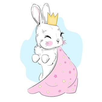 Hand getekend schattig konijntje in een kroon en een mantel met sterren, kinderachtig illustratie