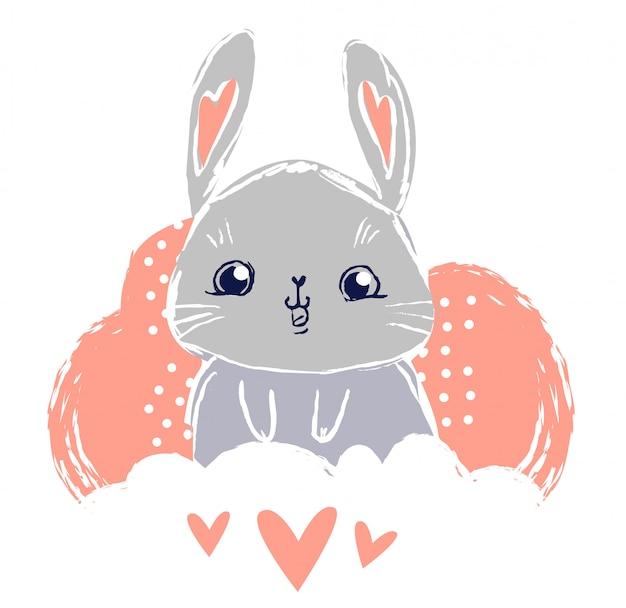 Hand getekend schattig konijntje, printontwerp konijn, kinderprint op t-shirt.