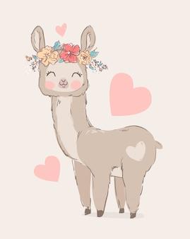 Hand getekend schattig lama en bloemen.