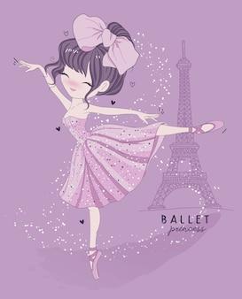 Hand getekend schattig meisje balletdans met parijs scène