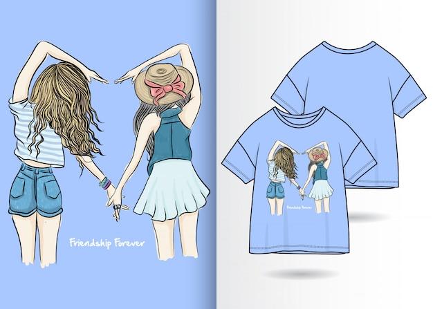Hand getekend schattig meisje illustratie met t-shirt design