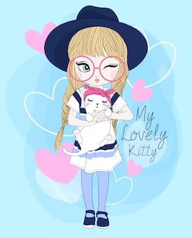 Hand getekend schattig meisje met kat