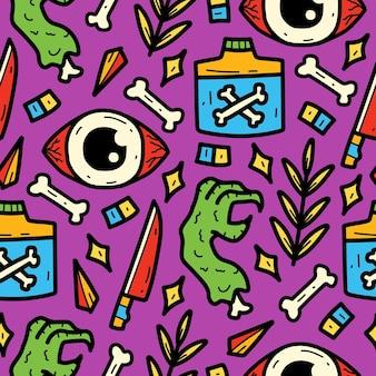 Hand getekend schattig monster cartoon doodle patroon ontwerp