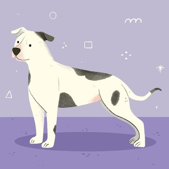 Hand getekend schattig pitbull illustratie
