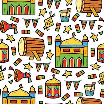 Hand getekend schattig ramadan cartoon doodle patroon ontwerp