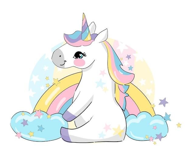 Hand getekend schattig unicorn paard en regenboog met wolk en sterren kinderachtige print trend vectorillustratie