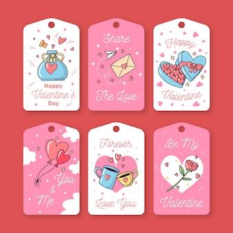 Hand getekend schattig valentijnsdag label / badge collectie