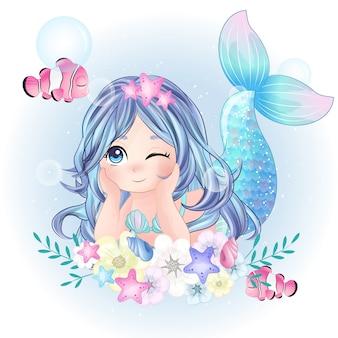 Hand getekend schattig zeemeermin karakter
