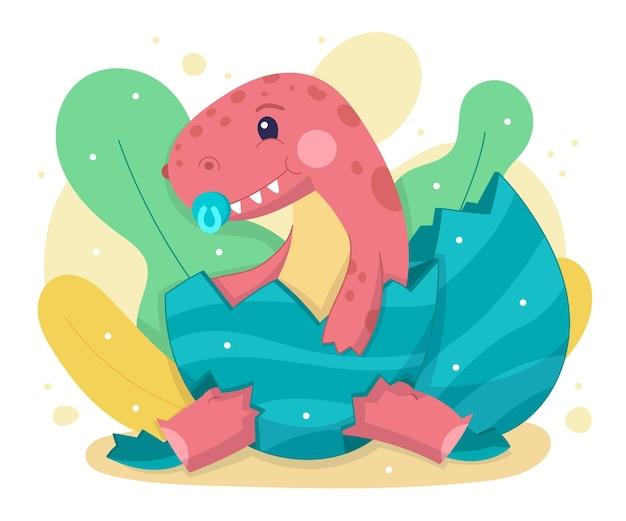 Hand getekend schattige baby dinosaurus geïllustreerd