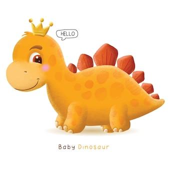 Hand getekend schattige baby dinosaurus illustratie