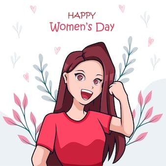 Hand getekend schattige illustratie voor vrouwendag