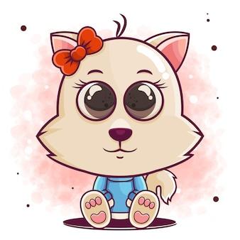 Hand getekend schattige kat cartoon