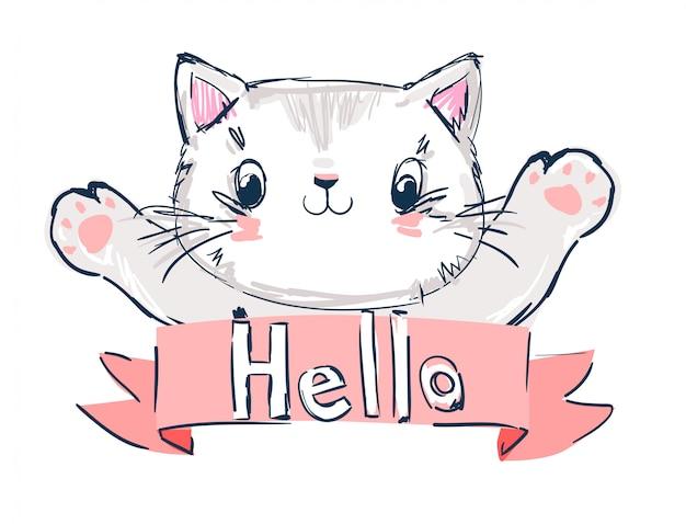 Hand getekend schattige kat vectorillustratie