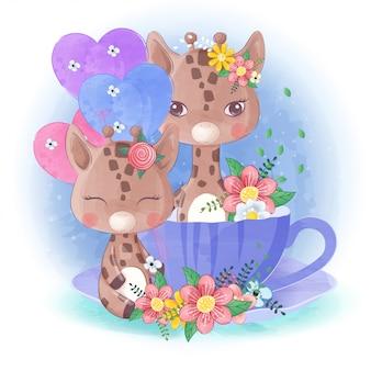 Hand getekend schattige kleine giraf met een kopje thee en ballonnen