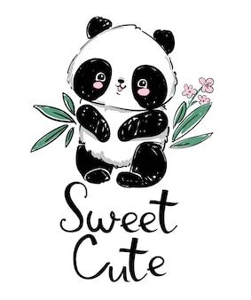 Hand getekend schattige panda en bamboe. handgeschreven