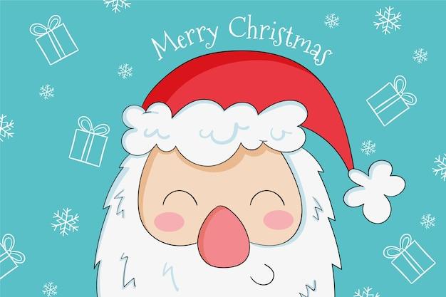 Hand getekend schattige smiley santa